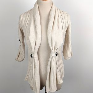Guess Large Cream Open Cardigan Cotton
